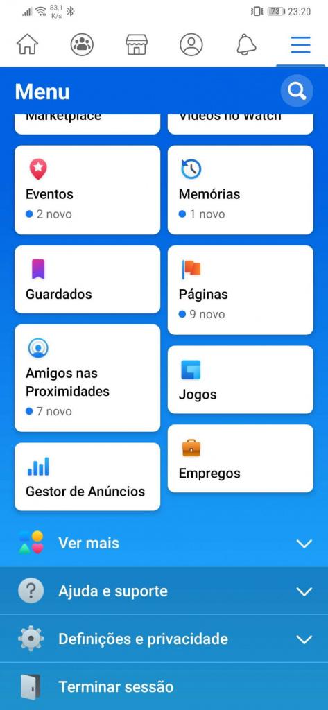 Facebook app Android mudança utilizadores