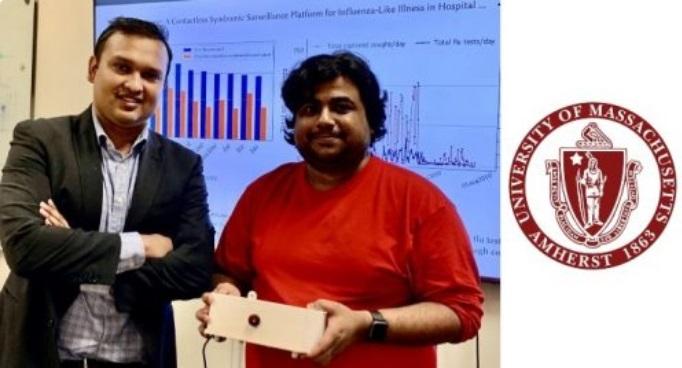 Forsad Al Hossain e Tauhidur Rahman com o equipamento FluSense