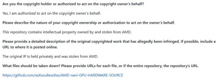 Reclamação da AMD ao GitHub.