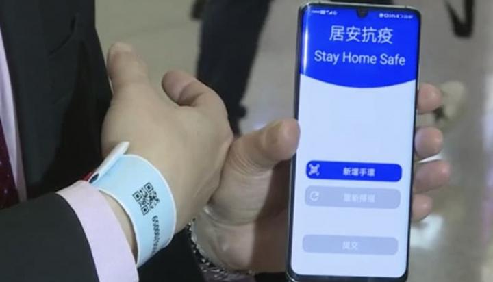 Imagem pulseira imposta em Hong Kong para controlar COVID-19