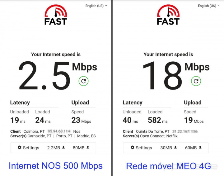 Netflix não vai além de 2,5 Mbps no serviço de Internet da NOS, no smartphone