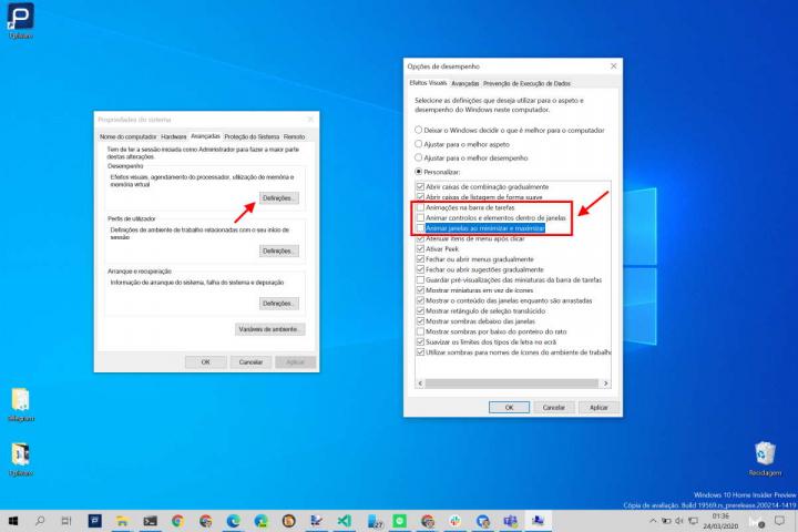 Windows 10 desempenho rápido animações gráficas