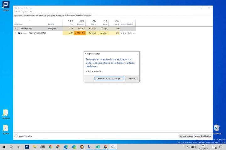 Windows 10 terminar sessão utilizador Microsoft