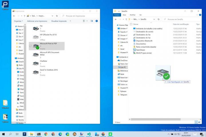 Windows 10 impressoras menu Enviar para dica