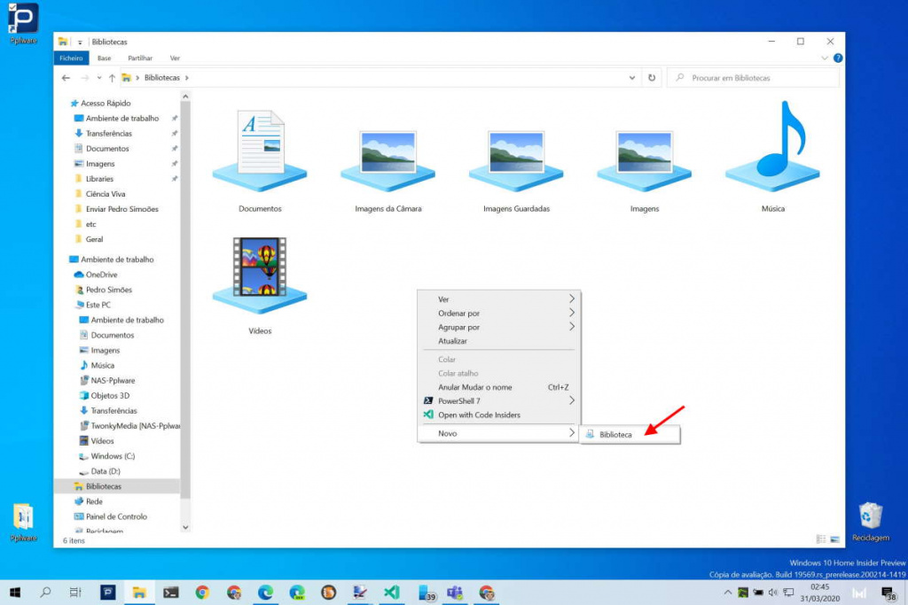 Windows 10 Bibliotecas utilizadores ficheiros pastas
