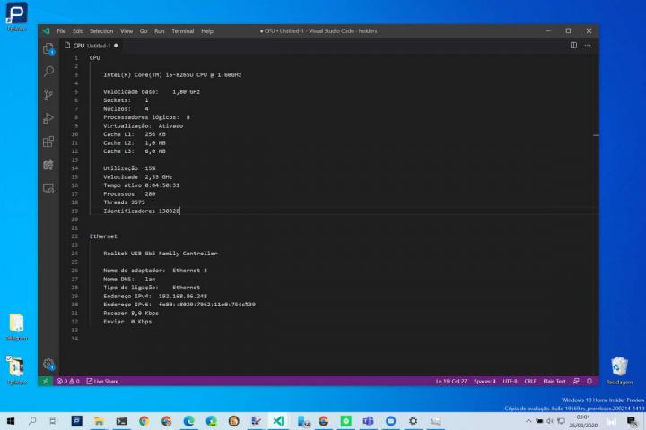 Windows 10 dados apoio remoto Gestor Tarefas