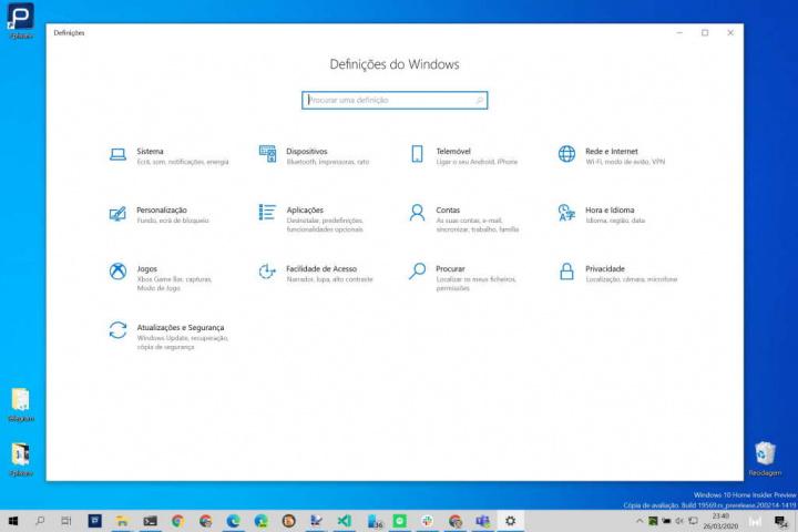 Windows 10 Painel Controlo Definições Microsoft