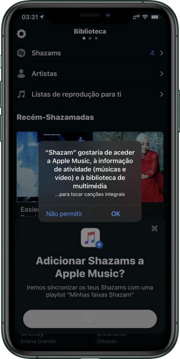 Imagem Apple Music com Shazam