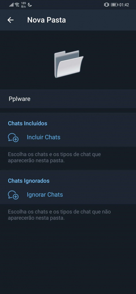 Telegram Pastas canais novidades conversas