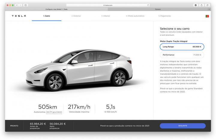 Imagem site da empresa com a data provável de entrega do novo elétrico em Portugal