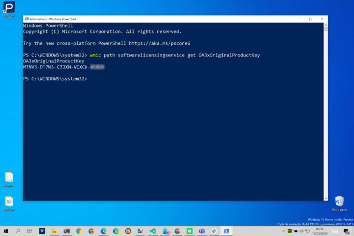 Windows 10 chave PowerShell comando número
