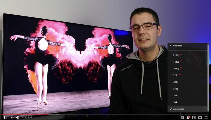 Imagem do seletor de qualidade dos vídeos do YpuTube