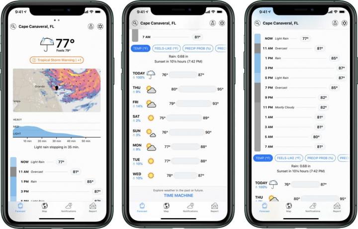 Imagem app Dark Sky para iOS comprada pela Apple