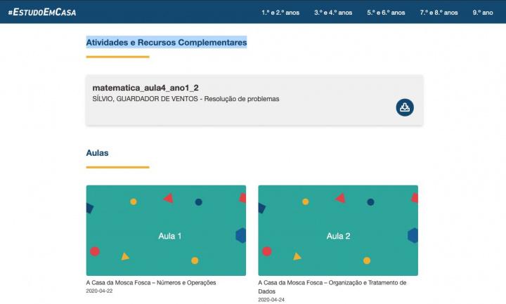 #EstudoEmCasa: Obter atividades e recursos complementares de cada ano/disciplina