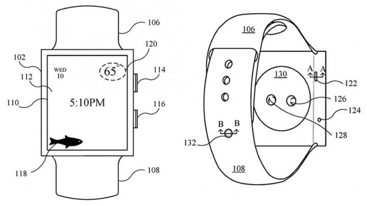 Imagem patente de Apple Watch dentro de água