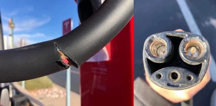 Vandalized Tesla charger image