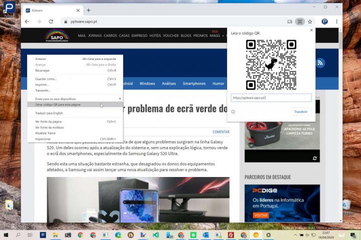 Chrome QR Google browser páginas
