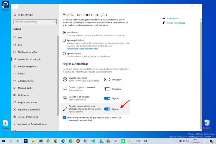 Windows 10 concentração videoconferências notificações opção