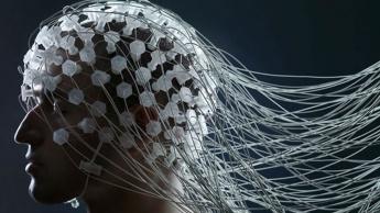 Imagem cérebro com suporte de inteligência artificial para passar pensamentos para texto