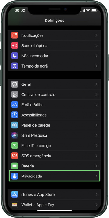 Imagem iOS com opção de registar contactos COVID-19
