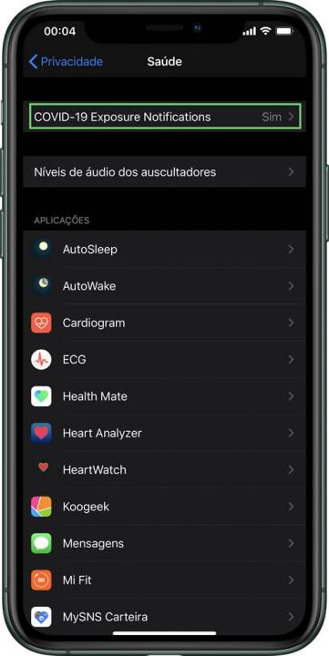 Imagem iOS com opção de registar contactos COVID-19 da Apple