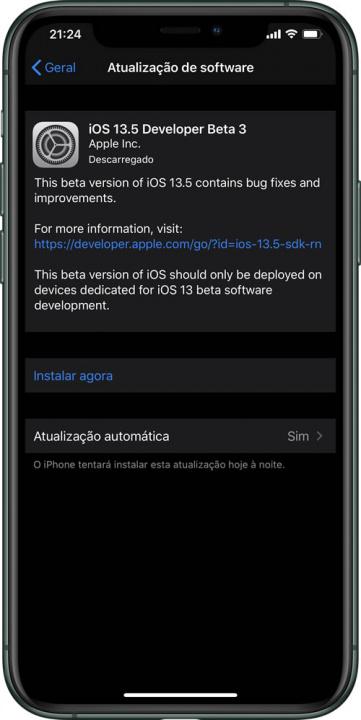 Imagem iOS 13.5 beta 3 com novidades