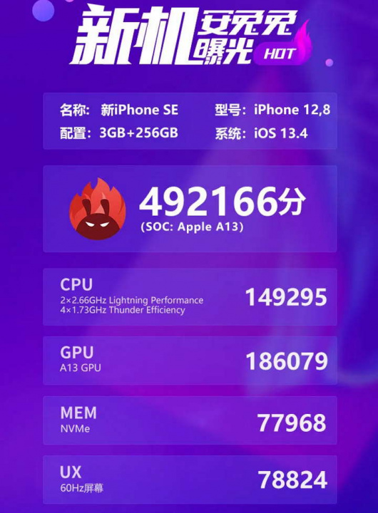 iPhone SE benchmark A13 Bionic processador Apple