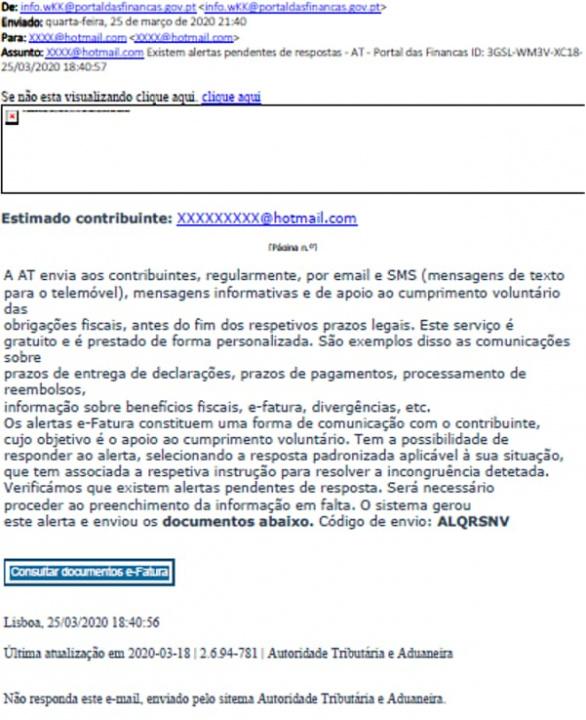 Alerta: Há e-mails fraudulentos a circular em nome das Finanças