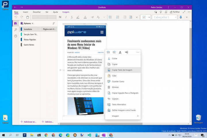 Windows 10 copiar texto imagem OneNote