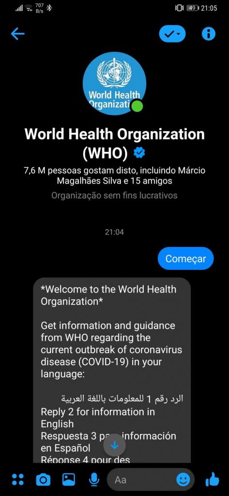 Messenger OMS WhatsApp COVID-19 comunicação
