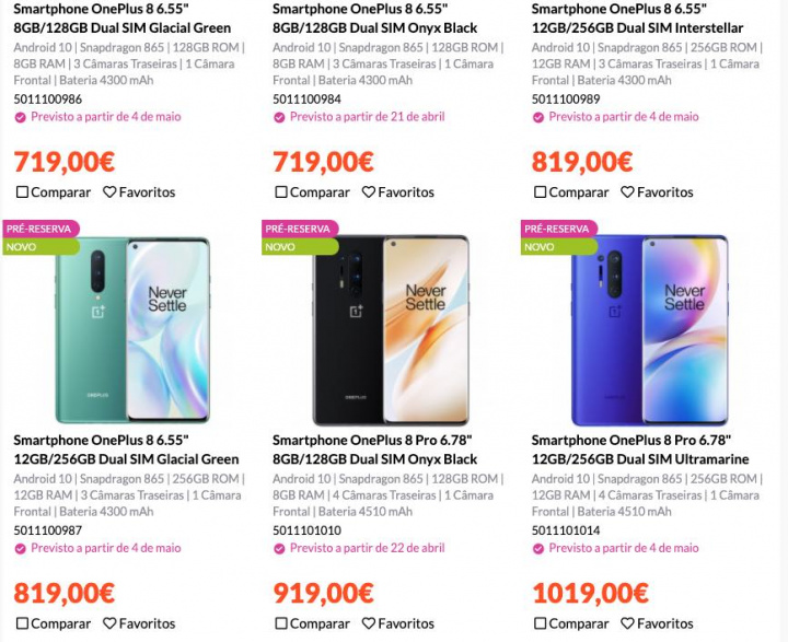 OnePlus 8 e OnePlus 8 Pro já estão em Pré-Venda em Portugal por 719 euros