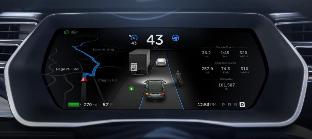 Imagem do interior do carro elétrico Model S da Tesla