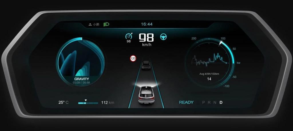 Imagem do interior do carro elétrico Xpeng, concorrente do Tesla