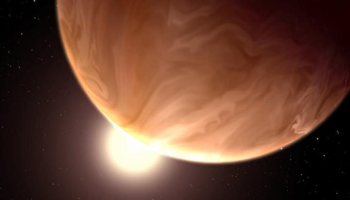 Ilustração da aparência hipotética do exoplaneta oceânico GJ 1214b,