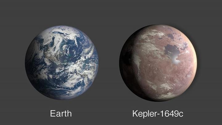 Imagem comparativa entre o nosso planeta e o Kepler-1649c