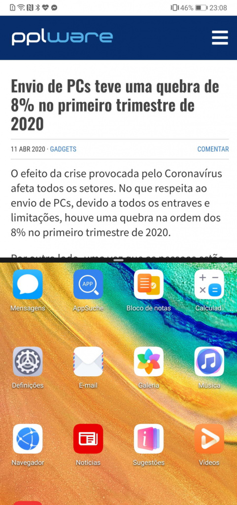 Android smartphone apps duas ecrã