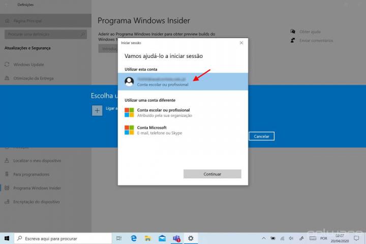 Windows 10 atualização Insider 2020 Microsoft