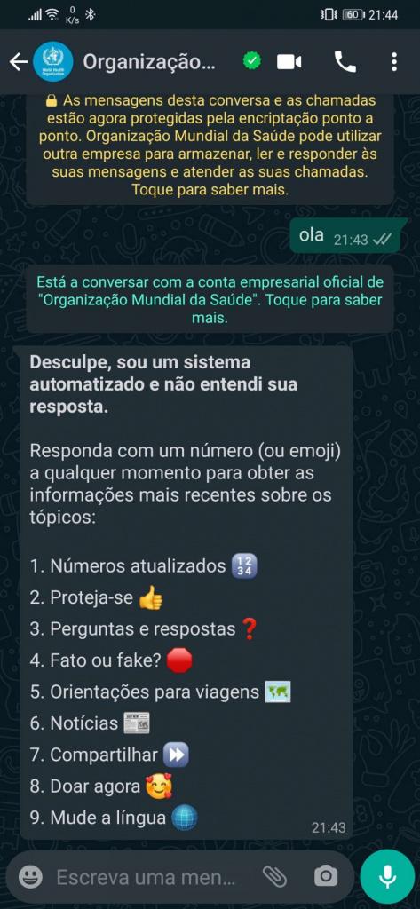 COVID-19 da OMS em português dúvidas