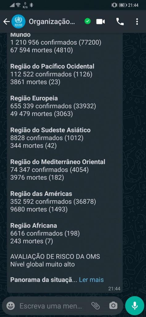 OMS Covid-19 português dúvidas