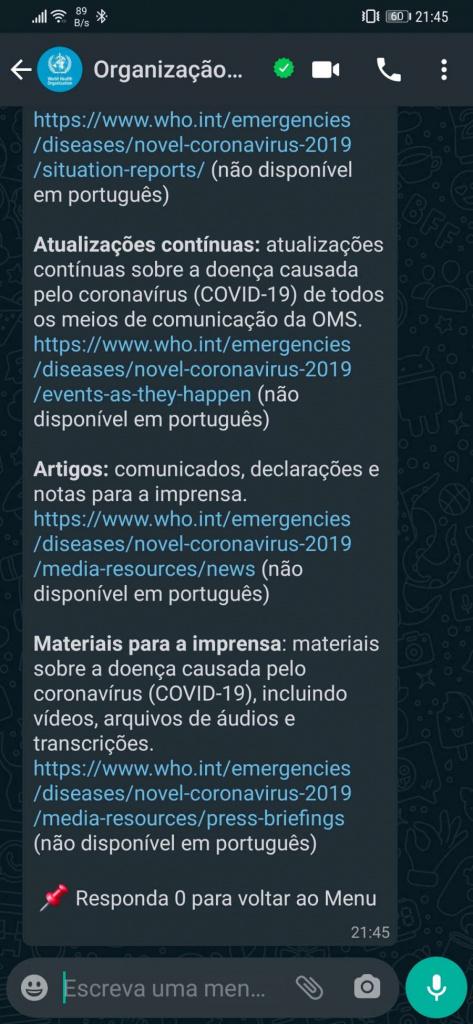 WhatsApp OMS Covid-19 português dúvidas