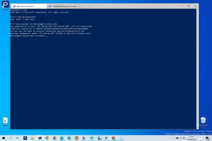 Windows 10 SSH servidor aceder remotamente