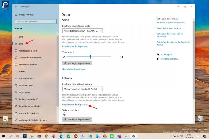 microfone Windows 10 configurar som auscultadores
