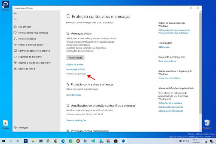 Windows Defender Windows 10 ameaças histórico segurança