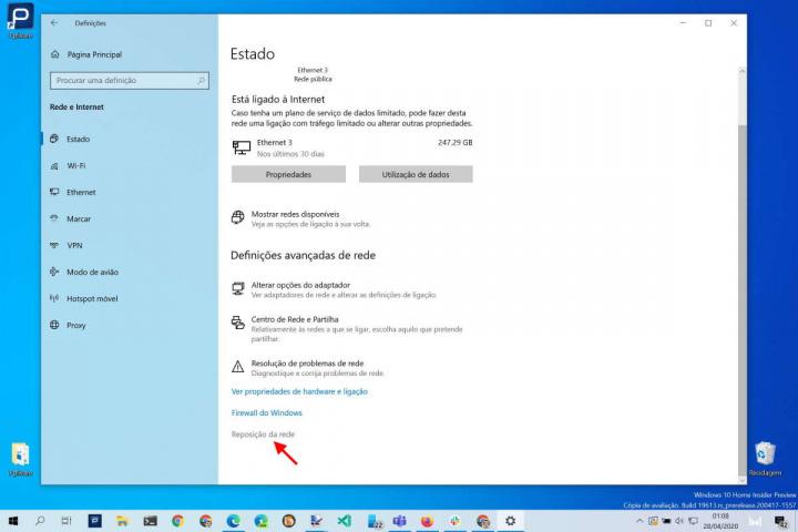 Rede Windows 10 reposição Internet problemas
