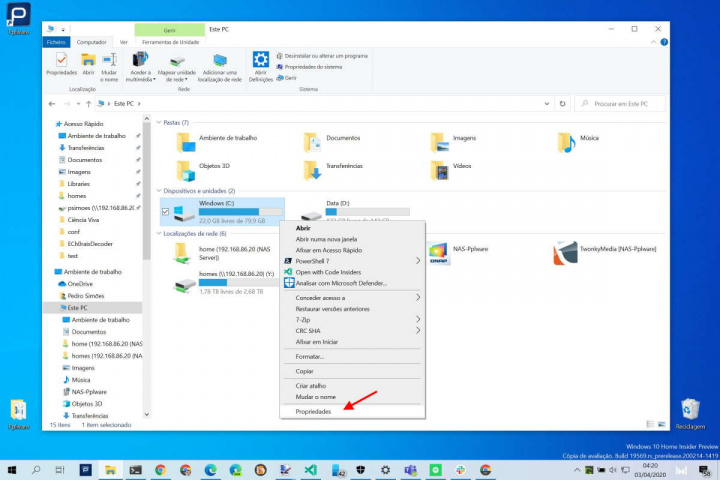 Windows 10 SD HDD PC componentes
