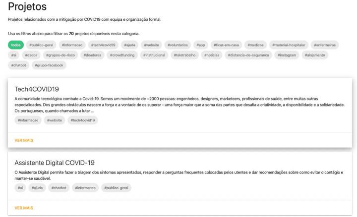 COVINDEX: Projetos da comunidade tecnológica de combate à COVID-19