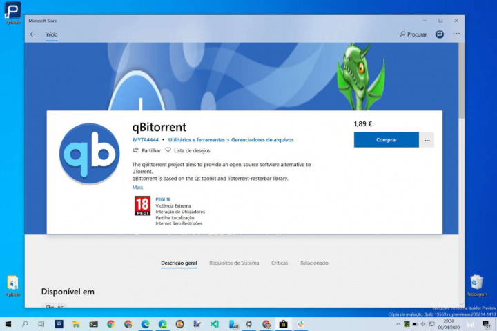 qBittorrent loja Microsoft apps Windows