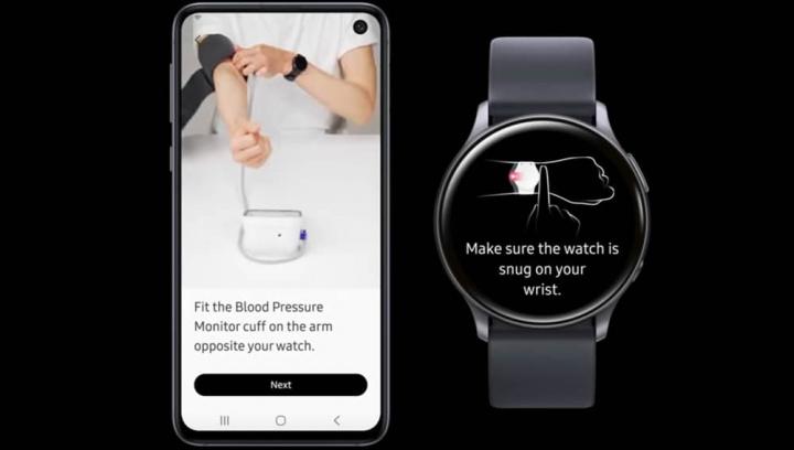 Ilustração do funcionamente da app para o Samsung Galaxy Watch 2 que monitoriza a tensão arterial