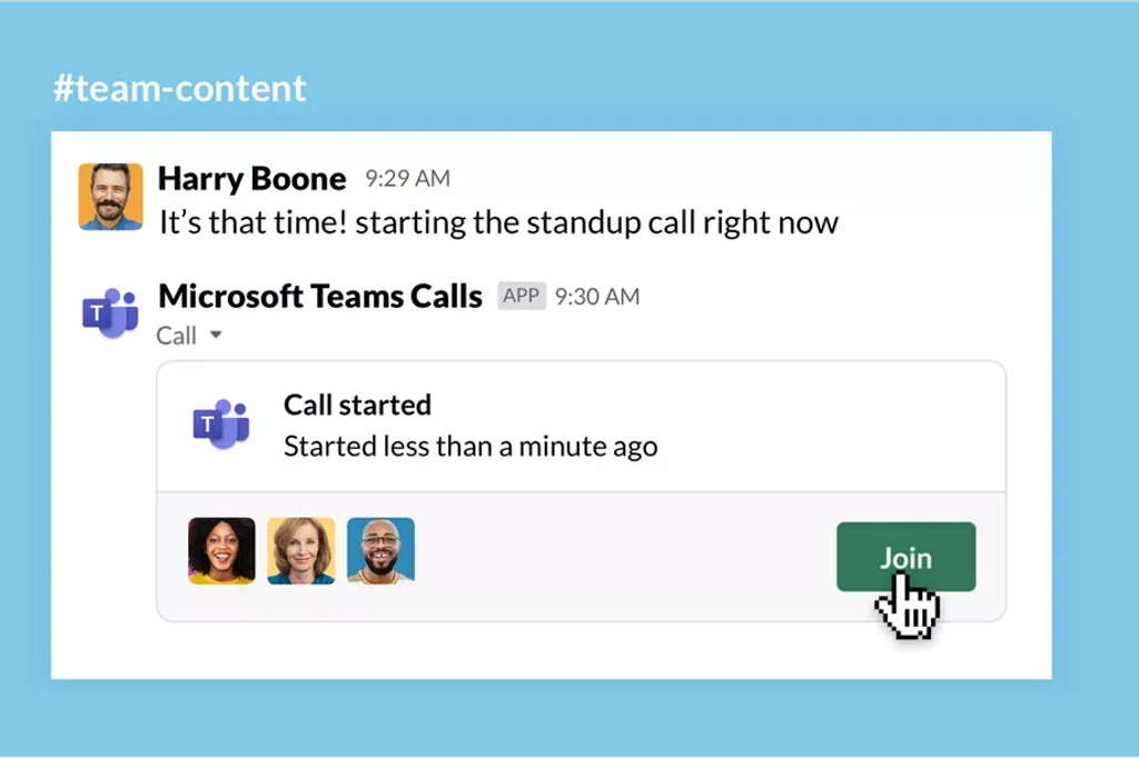 Slack Teams Microsoft chamadas vídeo