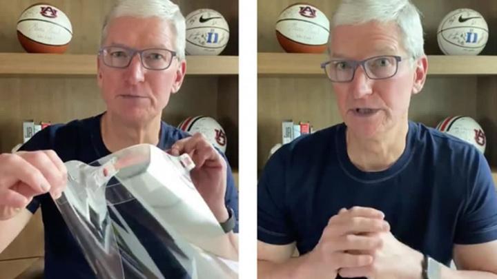 Imagem Tim Cook em vídeo a referir as doações da Apple, máscaras e viseiras com aa COVID-19